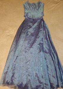 Mori Lee Blue Iridescent Skirt w/Beaded Bodice